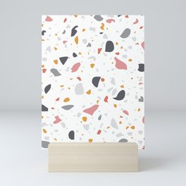 Terrazzo Pattern Design with Gold & Pink Details  Mini Art Print