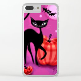 Black Cat with Bats and Pumpkin Clear iPhone Case