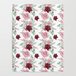 Succulents Pastel Red Pink Mint Green Pattern 2 Poster