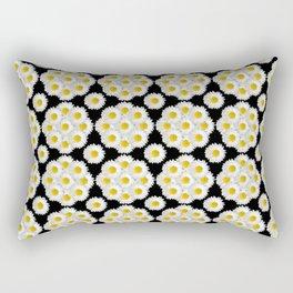 Daisies on black pattern Rectangular Pillow