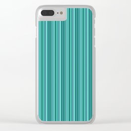 Turquoise striped . Clear iPhone Case