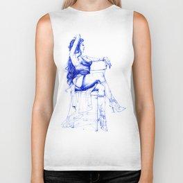Lady Ultramarine.  Леди Ультрамарин. INK ART. Yury Fadeev Biker Tank