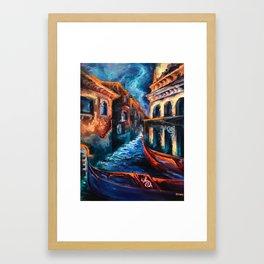 """Venice at Night"" Painting Framed Art Print"