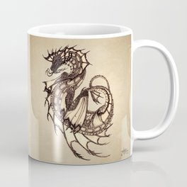 """Tsunami"" by Amber Marine ~ Sea Dragon ~ Graphite & Charcoal Illustration, (Copyright 2005) Coffee Mug"