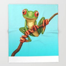 Cute Green Tree Frog on a Branch Throw Blanket