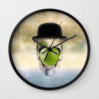 magritte Wall Clocks featuring Magritte Skull by HenryWine