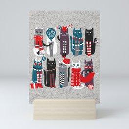 Feline Christmas vibes // grey background grey green white purple beet and black kittens Mini Art Print