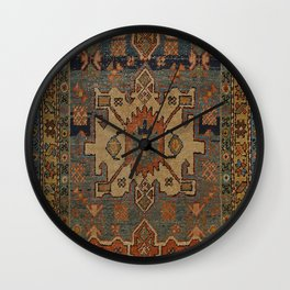 Persia Heriz 19th Century Authentic Colorful Orange Blue Green Vintage Patterns Wall Clock