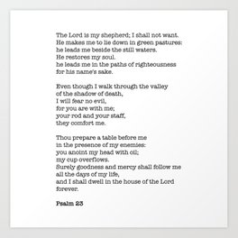 Psalm 23 Bible Verse Print - The LORD is my shepherd Art Print