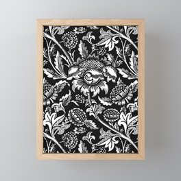 William Morris Sunflowers, Black and White with Gray Framed Mini Art Print
