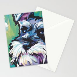 Fun Schnauzer Dog Portrait bright colorful Pop Art Painting by LEA Stationery Cards