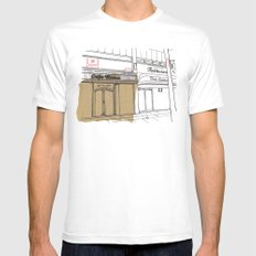 Cafe Roma. MEDIUM Mens Fitted Tee White