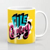 cowboy Mugs featuring File Cowboy by Chris Piascik