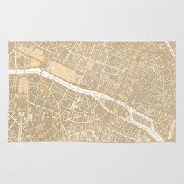 Vintage map of Paris France in sepia Rug