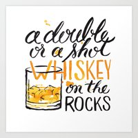 whiskey Art Prints featuring whiskey by desfigure