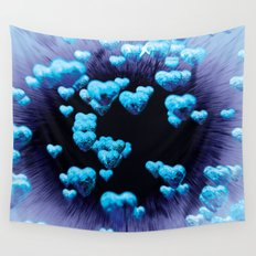 blue hearts Wall Tapestry