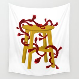Cuddling The Wooden Stool Wall Tapestry