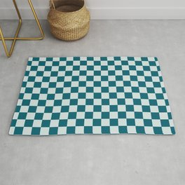 Pale Blue and Tropical Dark Teal Medium Checker Board Pattern Inspired by Sherwin Williams 2020 Trending Color Oceanside SW6496 Rug