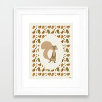 squirrel Framed Art Prints featuring Squirrel by Jane Mathieu