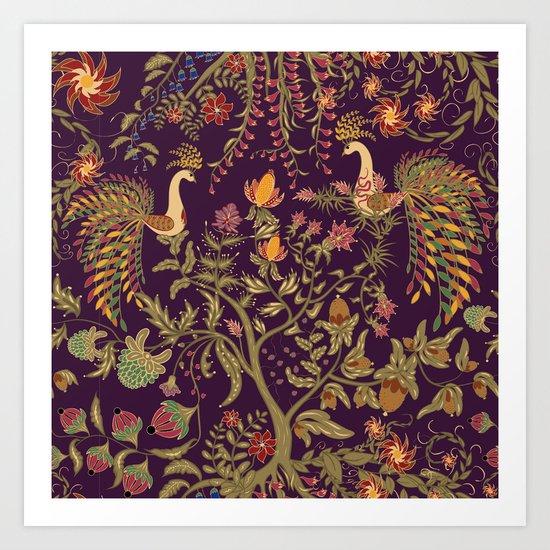 Birds of Paradise. Colorful illustration. Art Print