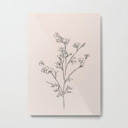 Minimal Line Art Flowers 5 Metal Print