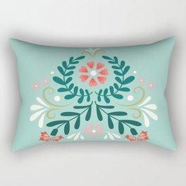 Floral Folk Pattern Rectangular Pillow