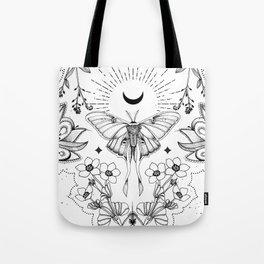 Bohemian Luna Moth On White Tote Bag