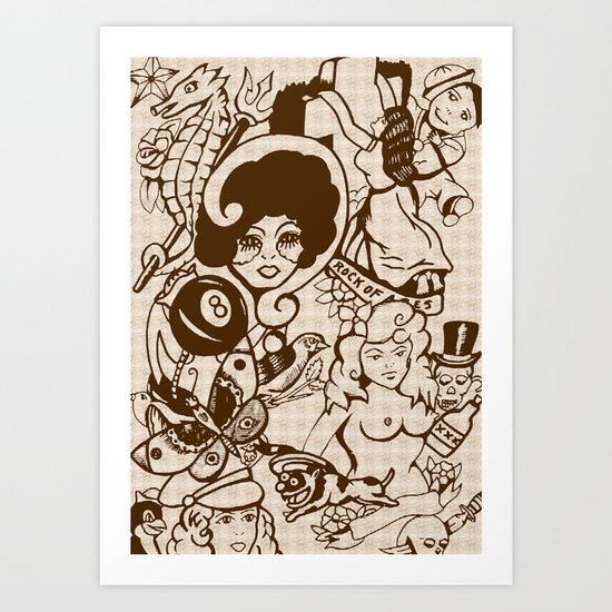 American Traditional Tattoo Collage (Brown) Art Print