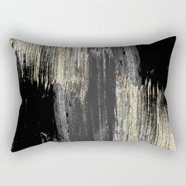 Abstract modern black gray gold glitter brushstrokes Rectangular Pillow
