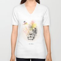 lion V-neck T-shirts featuring lion  by mark ashkenazi