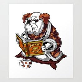 English Bulldog Reading Book Art Print