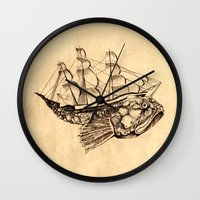 moby dick Wall Clocks featuring Moby by Lindsey Caneso