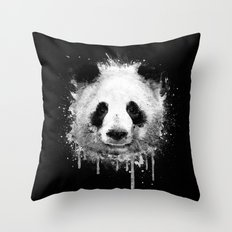 Cool Abstract Graffiti Watercolor Panda Portrait in Black & White  Throw Pillow