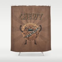 cookie monster Shower Curtains featuring Chewy Chocolate Cookie Wookiee by badbugs_art