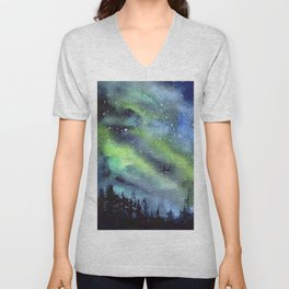 Galaxy Nebula Watercolor Northern Lights Aurora Borealis Unisex V-Neck