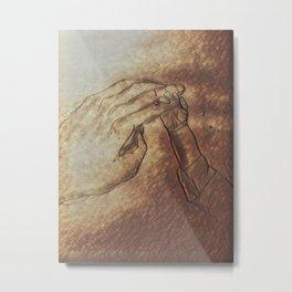 Parent and Newborn Hands Metal Print
