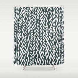 Dark green herringbone pattern Shower Curtain