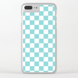 Gingham Duck Egg Blue Checked Pattern Clear iPhone Case