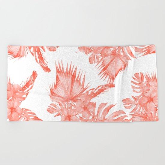 Tropical Palm Leaves Hibiscus Flowers Deep Coral Beach Towel