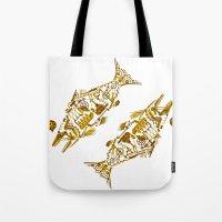 cyberpunk Tote Bags featuring Cyberpunk fish by Oceloti