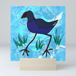 New Zealand Pukeko in blue Mini Art Print