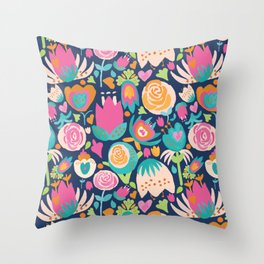 Blooming Burst - Navy Throw Pillow