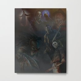 Horror Movie Character Collage Print Poster Metal Print