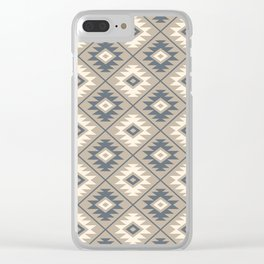 Aztec Symbol Stylized Pattern Blue Cream Sand Clear iPhone Case