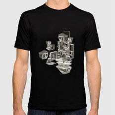 house fragment MEDIUM Black Mens Fitted Tee