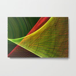 Abstract colorful lines on black background. Metal Print
