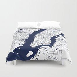 New York City White on Navy Duvet Cover