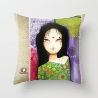 indian Throw Pillows featuring Indian by ByCabotine
