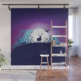 Forest Animals Gathering in the Moonlight Wall Mural