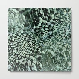 Faux pearly crocodile texture on green marble Metal Print